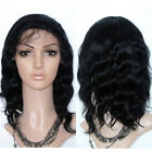 100% remy indian hair full lace wig 12'' hand tied 1b#
