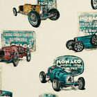 COTTON HEAVY CRAFT FABRIC VINTAGE ANTIQUE CARS NATURAL