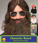 Adult Mens Brown Hippie Curly Jesus Beard Costume Facial Hair Accessory NEW