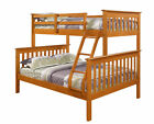 Twin/Full Mission Bunk Bed--Fixed Ladder--Honey