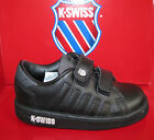 INFANTS BLACK LEATHER VELCRO K-SWISS TRAINERS LOZAN ll