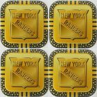4 NEW YORK RANGERS NHL GOLD METAL DRINK COASTERS