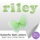 Wall Letter Alphabet Initial Sticker Vinyl Stickers Decals Name Green Butterfly