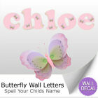 Pink Purple Green Butterfly Alphabet Letter Initial Wall Stickers Decals Name