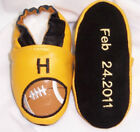 Moxies soft soled leather baby shoes personalized with name date on sole
