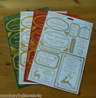A4 - Papermania - Christmas Sentiments -  Foiled Die Cut Toppers - No Scissors