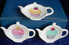 Porcelain Teapot shaped tea bag tidy with cupcakes cup cakes designs 3 colours