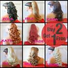 CLIP ON PONYTAIL HAIR EXTENSION Curly Wavy Straight Blonde Brown Red Ginger plum