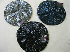 LADIES BLACK, PEWTER, OR BLUE SEQUIN BERET HAT - GL309