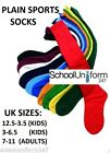 School Plain Football Socks Kids Mens Unisex Hockey Rugby PE Sports Boys Girls