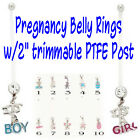 "2"" Bioflex Pregnancy Belly Ring It's a Boy/Girl Maternity Navel Naval"