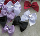 200/40pcs Satin Ribbon Bows W/rhinestone Appliques Craft Wedding E105 U pick