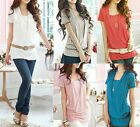 Cotton Casual Blouse Long Top T-shirt Multiple colour SZ S-M/AU6-10 T034