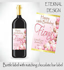 PERSONALISED BIRTHDAY BOTTLE LABEL & MATCHING CHOC BAR WRAPPER GREAT GIFT BDBL 1