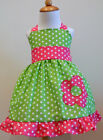 MINNIE MOUSE CUSTOM BOUTIQUE HALTER DRESS GREEN, AND HOT PINK POLKA  12M TO 6Y