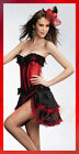 Red Corset+Mini Skirt Lace Lolita Burlesque Moulin Rouge Costume Saloon Can Can