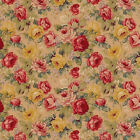 "COTTON RETRO ANTIQUE CHIC CURTAIN UPHOLSTERY FABRIC ROSE FLORAL RED BLUE 44""W"