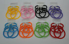3 x VALUE PACK RETRO PLASTIC CHUNKY HOOP EARRINGS 1980'S STYLE *LOTS OF COLOURS*