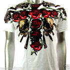 Artful T-Shirt Sz M L XL XXL Double Skull Rose Rockabilly Tattoo Punk Biker AW31