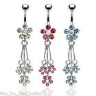 Triple Flower Dangle CZ Gem Belly Ring Navel Naval Clear, Light Blue, Pink