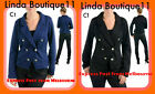 C1 New Womens Black/ Blue Coats Long Sleeves Jackets Plus Size 14 16 18 20 22 24