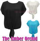 NEW LADIES CAP SLEEVE FRONT TIE TOP WOMENS KEYHOLE BLOUSE SIZES 8 10 12 14
