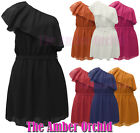 NEW LADIES WOMENS CHIFFON FRILLED ONE SHOULDER RUFFLE DRESS SIZE 8-14