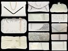 IVORY WHITE CREAM SUDED PU PATENT PROM WEDDING  BRIDAL EVENING  CLUTCH SHOULDER