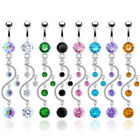 Navel Belly Ring Button CZ Multi Crystal Vine Dangle