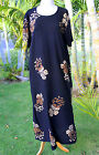 PLUS SIZE Hawaiian Floral Short Sleeve Long Dress ~ BLACK BROWN HIBISCUS YF #603