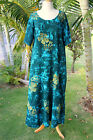 NWT PLUS SIZE Hawaiian Floral Short Sleeve Long Dress ~ GREEN HIBISCUS YF #603