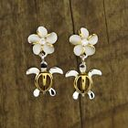 Hawaiian 925 Sterling Silver Flowers Turtles Dangle Post C Zirconia Earrings