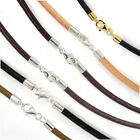 Sterling Silver 3mm Round Genuine Leather Cord Necklace / Bracelet Lobster Clasp