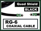 New Black Quad Shield RG6 Digital-HD Coax/Coaxial Satellite TV Cable Wire Cord