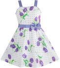 Girls Dress Purple Rose Dot Dress Party Children Clothes SZ 5 6 7 8 9 10 11 12