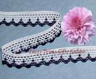 """10/20 Yards 5/8"""" White-Navy Crocheted Lace Trim N21DV Added Items Ship FREE"""