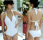White One Piece Cut Out Halter Neck Sexy Padded Monokini Swimsuit  M L XL XXL