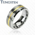 Tungsten Carbide Ring with Gold Striped Groove on the Center