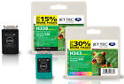 Remanufactured HP338 / HP343 Black / Colour Ink Cartridges for PSC 1500 & more