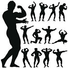 Muscle Man Silhouette Wall Art Sticker Decal Present Gift Gym Pose Strong Men