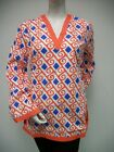 Tracy Negoshian Michelle Tunic Top Orange White Light Blue NEW NWT 100% cotton