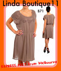 B71 New Brown Womens Wedding Cocktail Evening Party Chic Office Work Plus Dress