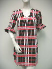 Tracy Negoshian Mari Red Black Plaid Knit Cotton Dress Bell 3/4 Sleeve NEW NWT
