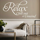 Relax Chill Large Vinyl Art Wall Sticker Quote Bedroom Bathroom Decal Decoration