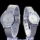 Pure Silver Couple Lover Stainless Steel Mens Womens Quartz Wrist Watch Watches