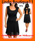 B94 New Womens Wedding Formal Black Cocktail Evening Party Chic Work Dress Plus