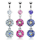 316L Surgical Steel Prong Set Navel  Belly Ring Gem Paved Double Flower Dangle