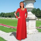 Castleford Red Gown Ladies Medieval Renaissance Dress Lace Sides, Back & Sleeves