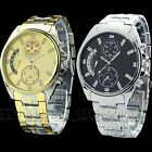 New Gift Luxury Dial Mens Stainless Steel Gold Quartz Watch Wristwatch Watches