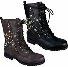 Ladies Riding Biker Combat Ankle Flat Lace Up Boots Women Star Studs Spike Shoes
